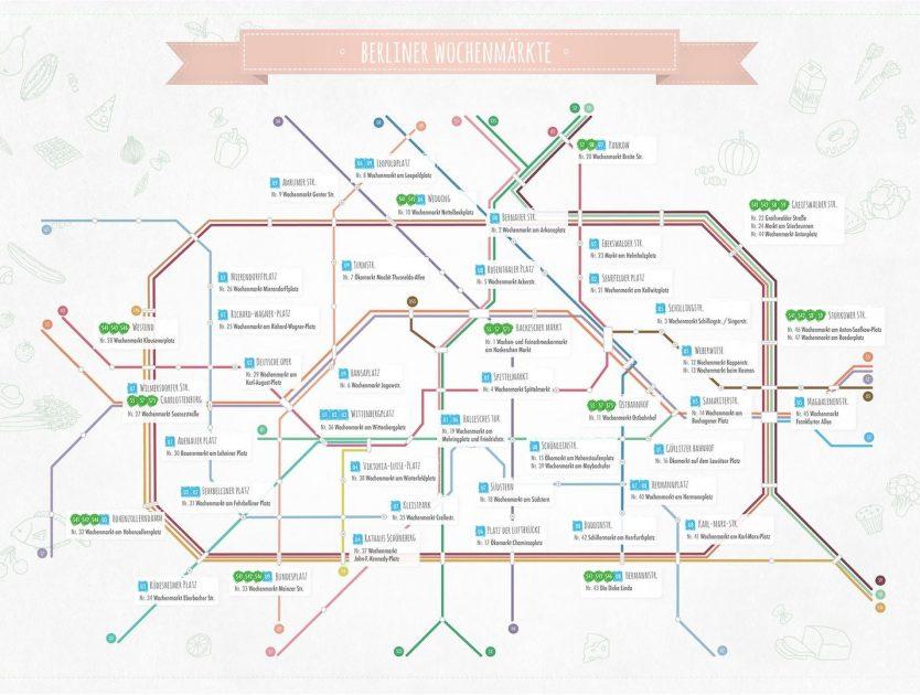 Die beliebtesten Wochenmärkte Berlins auf einer Karte
