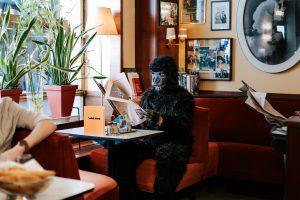 Was macht ein Gorilla im Café Korb? Egal wie exzentrisch oder extravagant die Gäste sein mögen, hier wirkt jede und jeder ganz gewöhnlich und normal.
